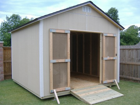 Gable roof storage sheds built on site for Garden shed 12x12