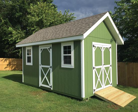 Gable roof storage sheds built on site for Gable style shed